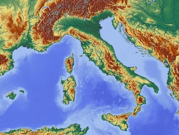 מפה פיזית של איטליה